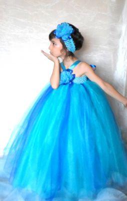 Rochie albastra printesa copii 07